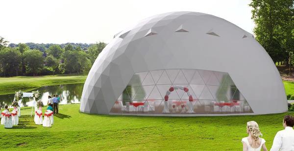 Сферический шатер - идеальное решение для проведения выездных свадеб
