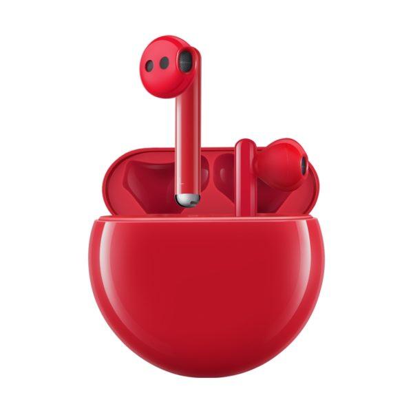 Красные беспроводные наушники huawei freebuds 3